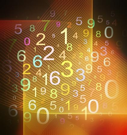 numbers abstract: coloridos n�meros sobre fondo de cuadr�cula con textura