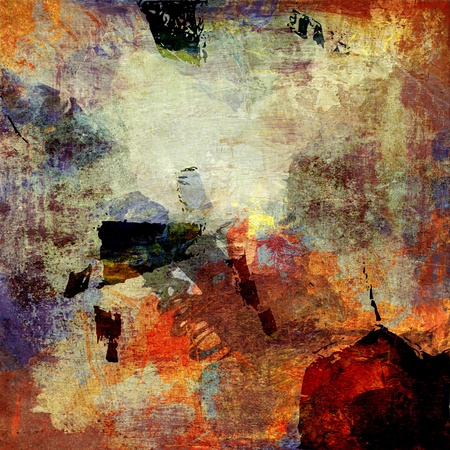 abstract paintings: abstract background created by using different photographs and hand painted layers