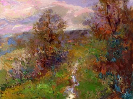 fall landscape in lower saxony  - hand painted impasto sketch on wooden panel photo