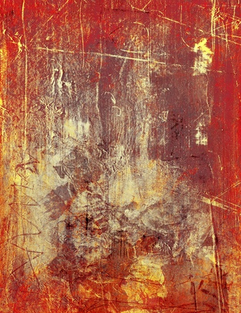 scratched acrylic and oil paints layers - sgraffito