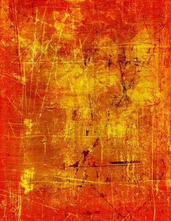 goud textuur met de rode lak gebarsten oppervlak Stockfoto