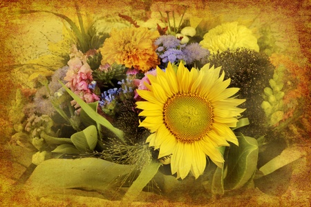 mixed flower bouquet: vintage background collage - arrangement of mixed flowers in retro style Stock Photo