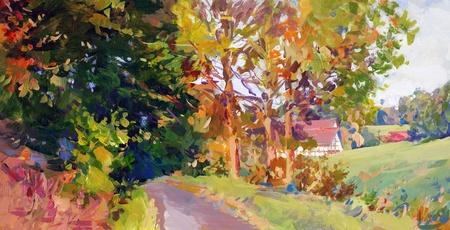 hand schilderen: vallen landschap in Nedersaksen - handgeschilderd acryl verf schets Stockfoto