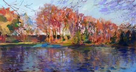impressionism: fall landscape in lower saxony - acrylic paints on hardboard Stock Photo