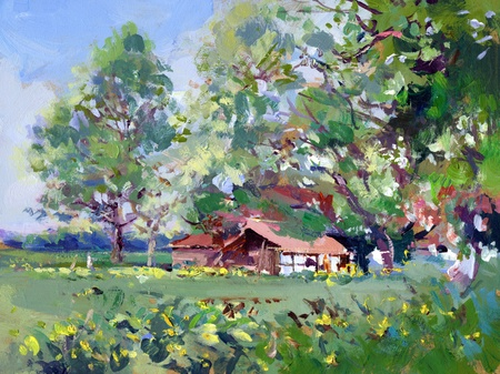 painting house: rural scene landscape painting - acrylic paint on hard board