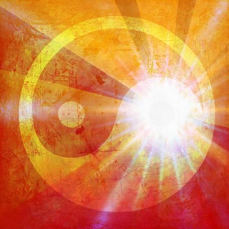 spiritual light: yin and yang symbol on background grunge Stock Photo