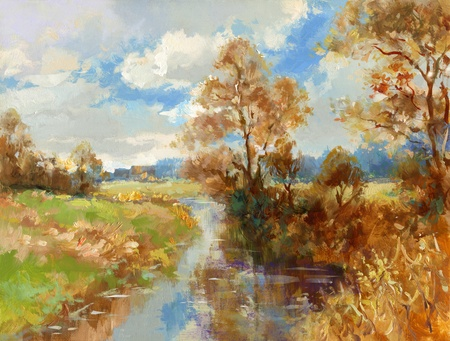 creek: fall landscape - hand painted oil paints sketch