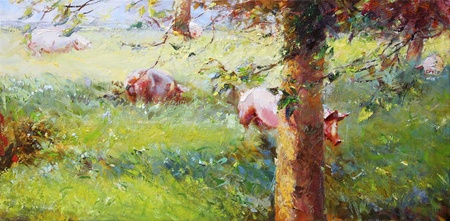 hand painted pigs on canvas Stock Photo - 11102239
