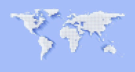 international network: world map background illustration with copy space