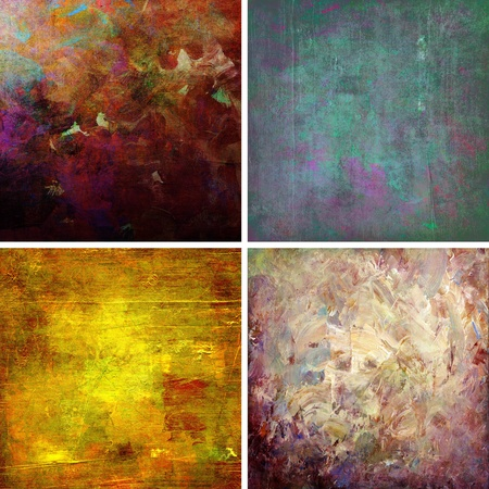 set of backgrounds - analog paintings with digitally added textures photo
