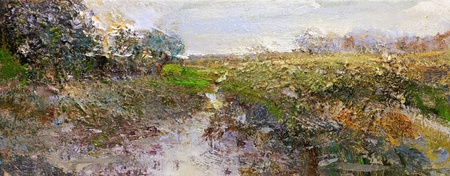 landscape in lower saxony - hand painted impasto sketch on canvas photo