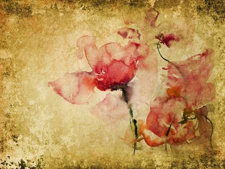 texture with watercolor roses - vintage background Stock Photo