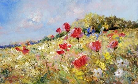 oil paints: amapolas rojas y margaritas blancas sobre un prado de verano - pinturas al �leo sobre acr�licos