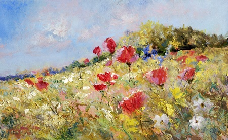 oil painting: red poppies and white marguerites on a summer meadow - oil paints on acrylics