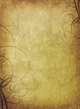 grunge textures: old paper background with ornament pattern Stock Photo