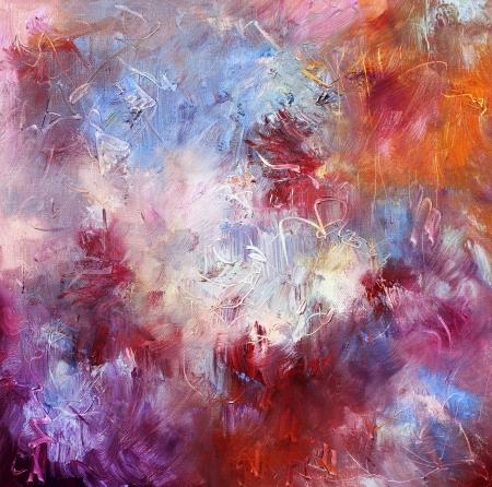 cuadros abstractos: �leo sobre lienzo textura de la pintura Foto de archivo