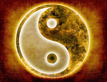 yin en yang symbool op oud papier grunge