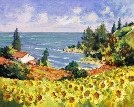 acrylic painting: sea landscape painting - acrylic paints on hardboard