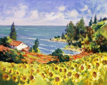 zee landschap schilderij - acryl verf op hardboard