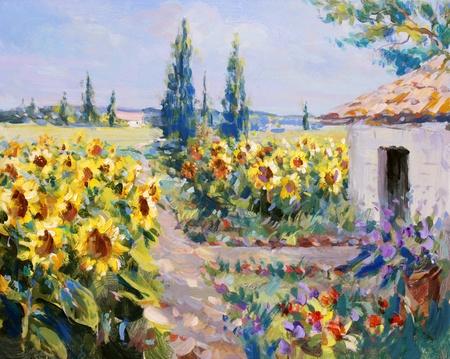 summer landscape painting - acrylic paints on hardboard Foto de archivo