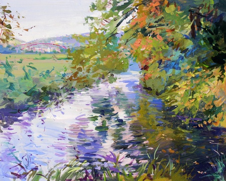 landscape painting: fall landscape in lower saxony - acrylic paints on hardboard Stock Photo