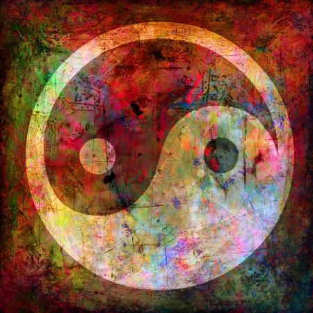 yin yang: el yin y el yang, s�mbolo en el grunge de fondo Foto de archivo