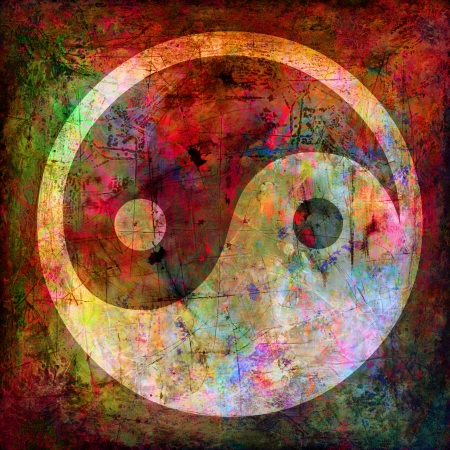 yin yang: yin and yang symbol on background grunge Stock Photo