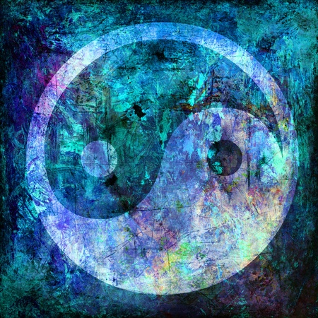 yin and yang symbol on background grunge Imagens