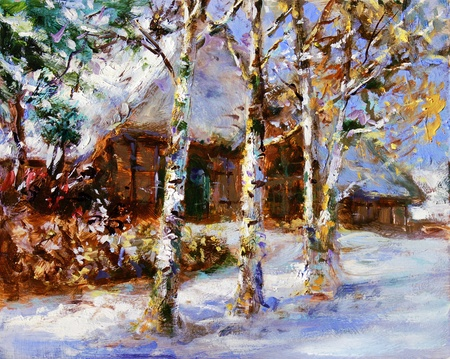acrylic painting: winter landscape in lower saxony - acrylic and oil paints on hardboard