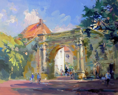 old town landscape painting - acrylic paints on hardboard photo