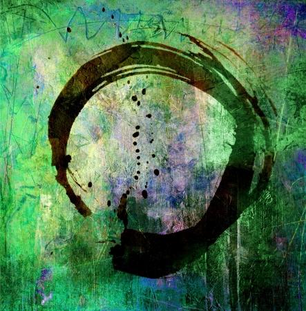 hand painted enso symbol on background grunge