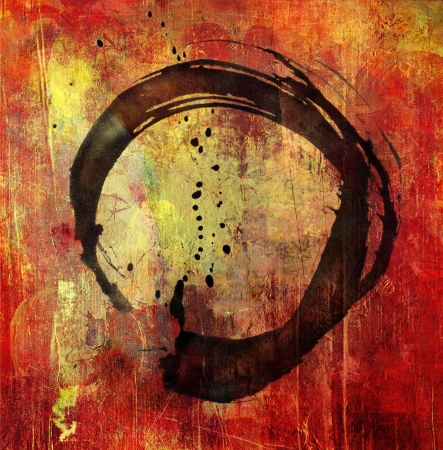 handgeschilderde Enso symbool op de achtergrond grunge