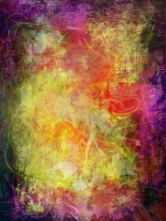 hand painted: abstract painting - created by combining different layers of paint Stock Photo