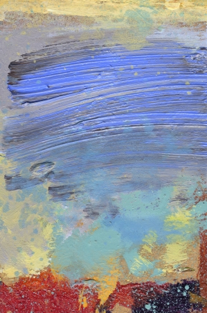 grunge layer: oil paint glazes and acrylics on beige hardboard Stock Photo
