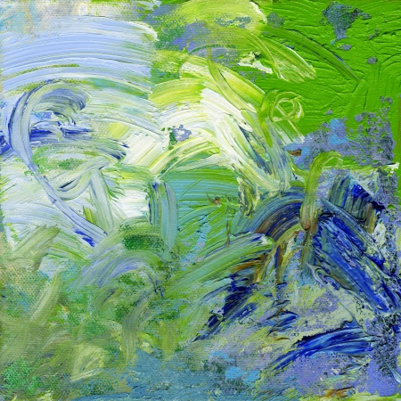 blue, green and white oil paint on canvas