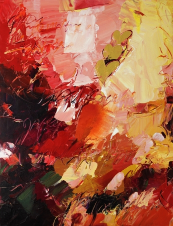 analog painted mixed media - oil paints on acrylic background