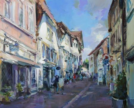 oude stad landschap schilderen - acrylverf op hardboard Stockfoto