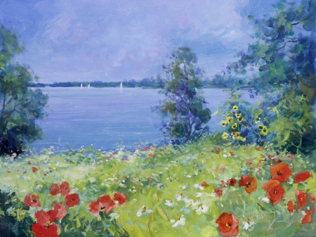 red poppies, white marguerites and sunflowers on a summer meadow - oil paints on acrylics 版權商用圖片