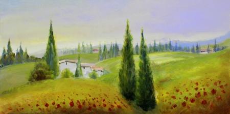 oil paints: amapolas rojas en un prado de verano - pinturas al �leo sobre acr�licos