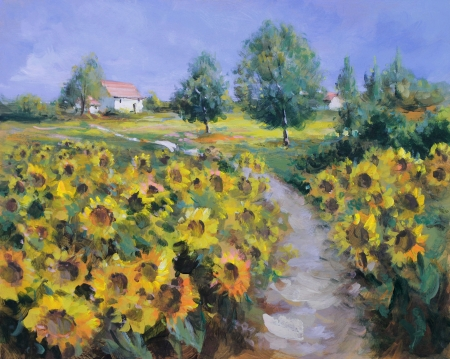 painting nature: summer landscape painting - oil paints on acrylics Stock Photo