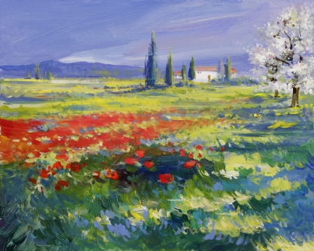 red poppies on green field: red poppies on a summer meadow - oil paints on acrylics Stock Photo
