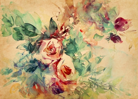 watercolor roses painted on beige tone paper photo