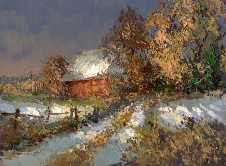winter landscape in lower saxony - created with oil paints photo