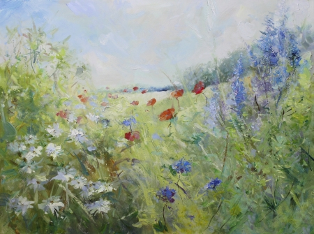 red poppies and white marguerites on a summer meadow - oil paints on acrylics on canvas