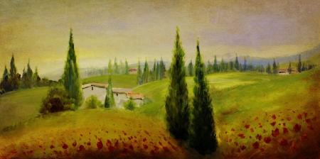 oil paints: paisaje pintado a mano con los acr�licos y �leos Foto de archivo