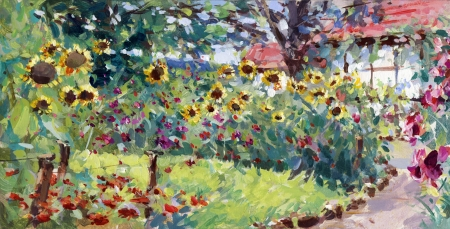 brushstrokes: summer motif painting, landscape in lower saxony - oil paints on acrylics