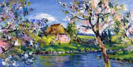 spring motif painting, landscape in lower saxony - oil paints on acrylics