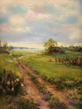 paisaje: rural retro escena pintura de paisaje - pintura al óleo sobre lienzo