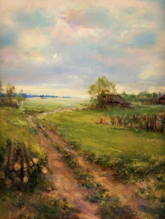 old farm: rural retro scene landscape painting - oil painting on canvas