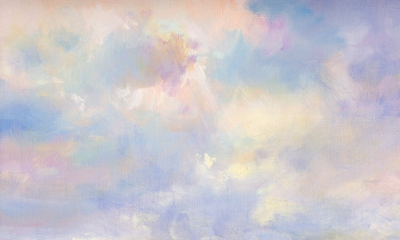 clouds on canvas in oil painting technique